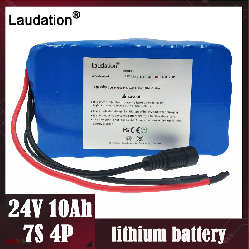 Laudation Electric bicycle <font><b>battery</b></font> 24V 10ah 15A BMS <font><b>7s</b></font> 250W 29.4V 10000mAh 18650 <font><b>battery</b></font> <font><b>pack</b></font> for motor e bike Electric Power image