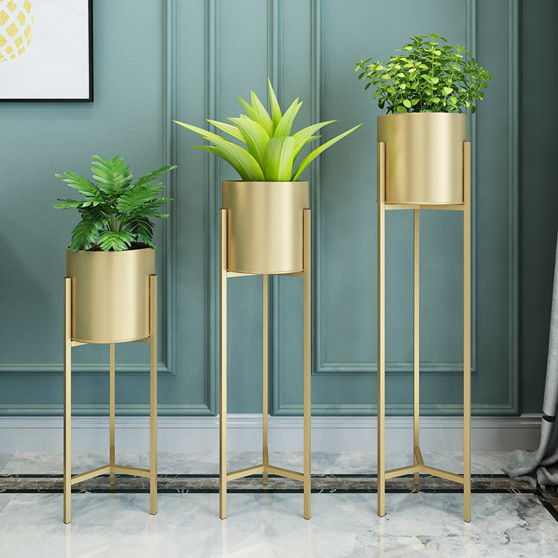 Nordic Metal Plant Stand For Living Room Indoor Brief Floor Plant Iron Racks  Flower Metal Stand Balcony  Metal Shelf