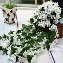 2 sztuk fioletowy sztuczne sztuczne kwiaty dekoracje ślubne girlanda z kwiatów jedwabiu kwiaty ozdobne strona główna sztuczny kwiat sztuczne kwiaty tanie tanio CN (pochodzenie) artificial flower vine Other Płatki New Year