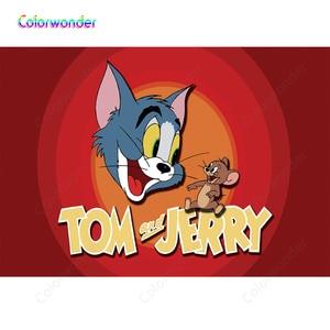 Том Кот и мышь Джерри фон день рождения баннер вечерние тема, детский душ фон для фотосъемки для фотостудии 7x5FT винил
