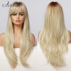 EASIHAIR Long Light Blonde Ombre Synthetic Wigs Natural Wave Layered Wigs for Women Wigs with Bangs Heat Resistant Cosplay Wig
