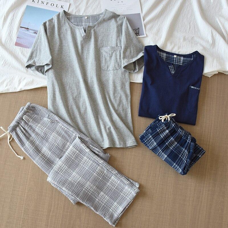 100% Cotton Pajama Set Men Male Pajamas Mens Pajamas Cotton 2384
