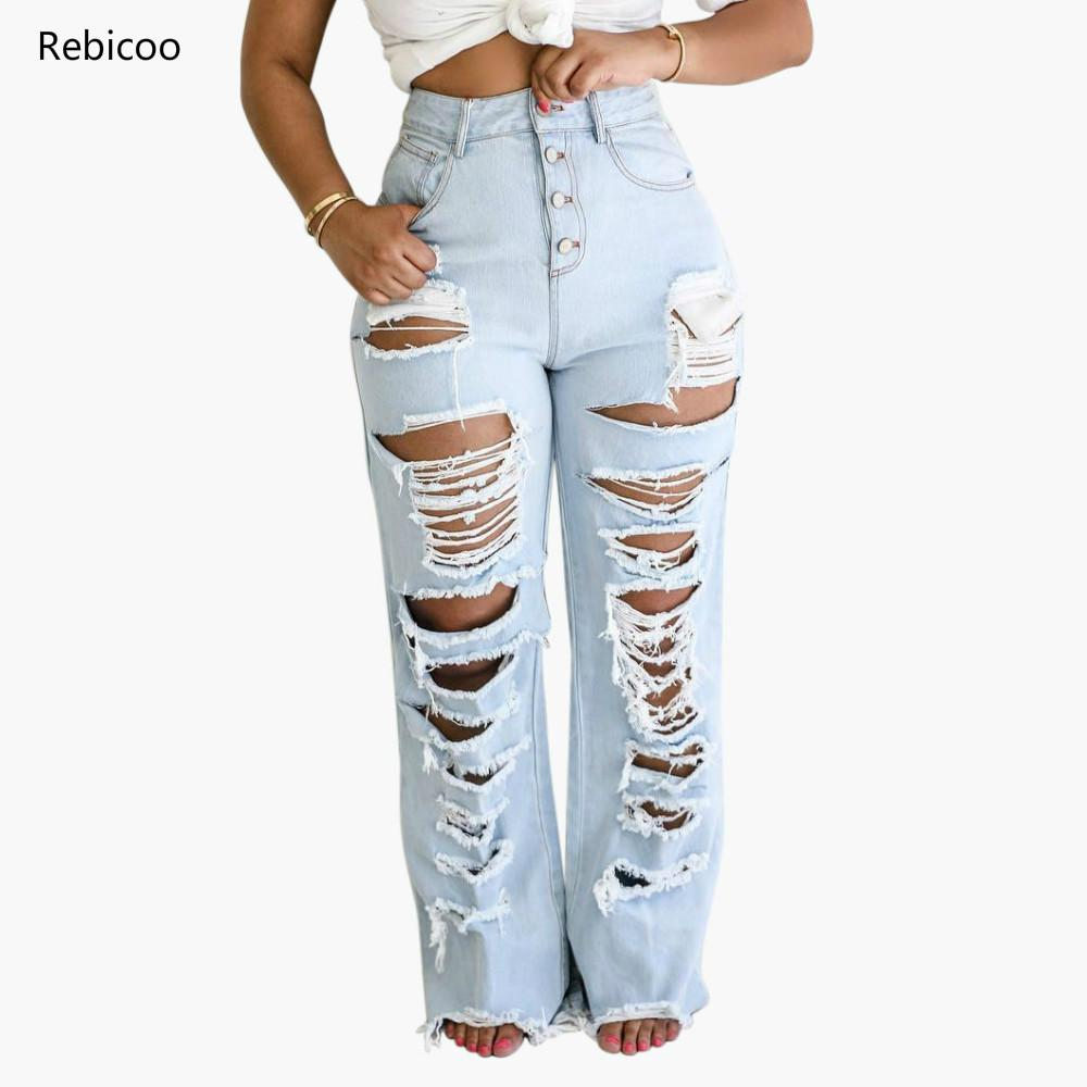 Women's Fashion High Waist Jeans Shredded Hole Edging Straight Trousers Distressed Boyfriend Ripped Jeans For Women S-2XL