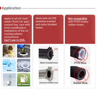 AN6 AN8 AN10 Straight 45 90 180 Degree Oil Fuel Swivel Hose End Fitting Oil Hose End Adaptor Kit Black