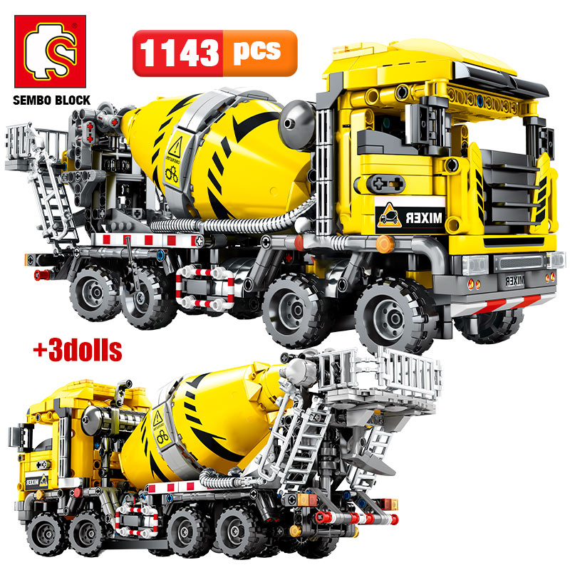 SEMBO BLOCK City Engineering Bulldozer Crane Technic Car Truck Excavator Roller Building Blocks bricks Construction Toys(China)