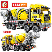 SEMBO BLOCK City Engineering Bulldozer Kran Technik Auto Lkw Bagger Roller Bausteine ziegel Bau Spielzeug(China)