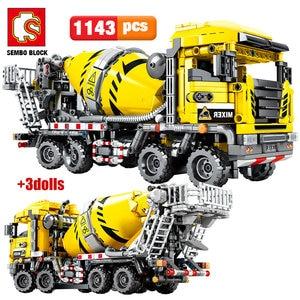 SEMBO bloc ville ingénierie Bulldozer grue technique voiture camion pelle rouleau blocs de Construction briques Construction jouets(China)