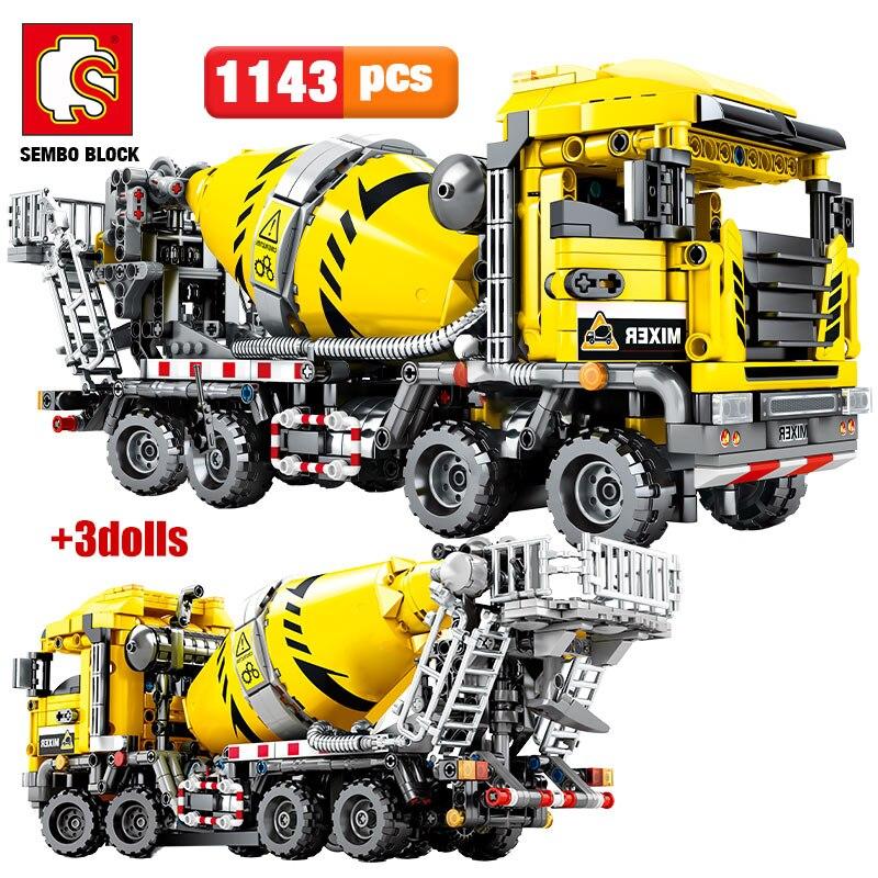 SEMBO BLOCK-bloques de construcción de ingeniería urbana, Bulldozer Crane, coche, camión, excavadora, rodillo, bloques de construcción, bloques, juguetes de construcción