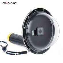 "SOONSUN 6 ""تحت الماء مقاوم للماء قبة ميناء الغوص عدسة الغطاء الحال بالنسبة GoPro بطل 5 6 7 الأسود الذهاب برو Hero7 أبيض/فضي الإكسسوار"