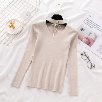 Ailegogo New Sexy Women V Hanging Neck Sweater Casual Female Solid Slim Fit Knitwear Tops Hollow Out Ladies Knitted Outwear 3