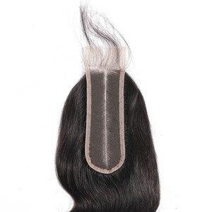 Image 5 - Fermeture brésilienne de cheveux de vague de corps de cheveux de Bling avec des cheveux de bébé Remy 2x6 fermeture suisse de dentelle partie moyenne couleur naturelle 8 22 Inch