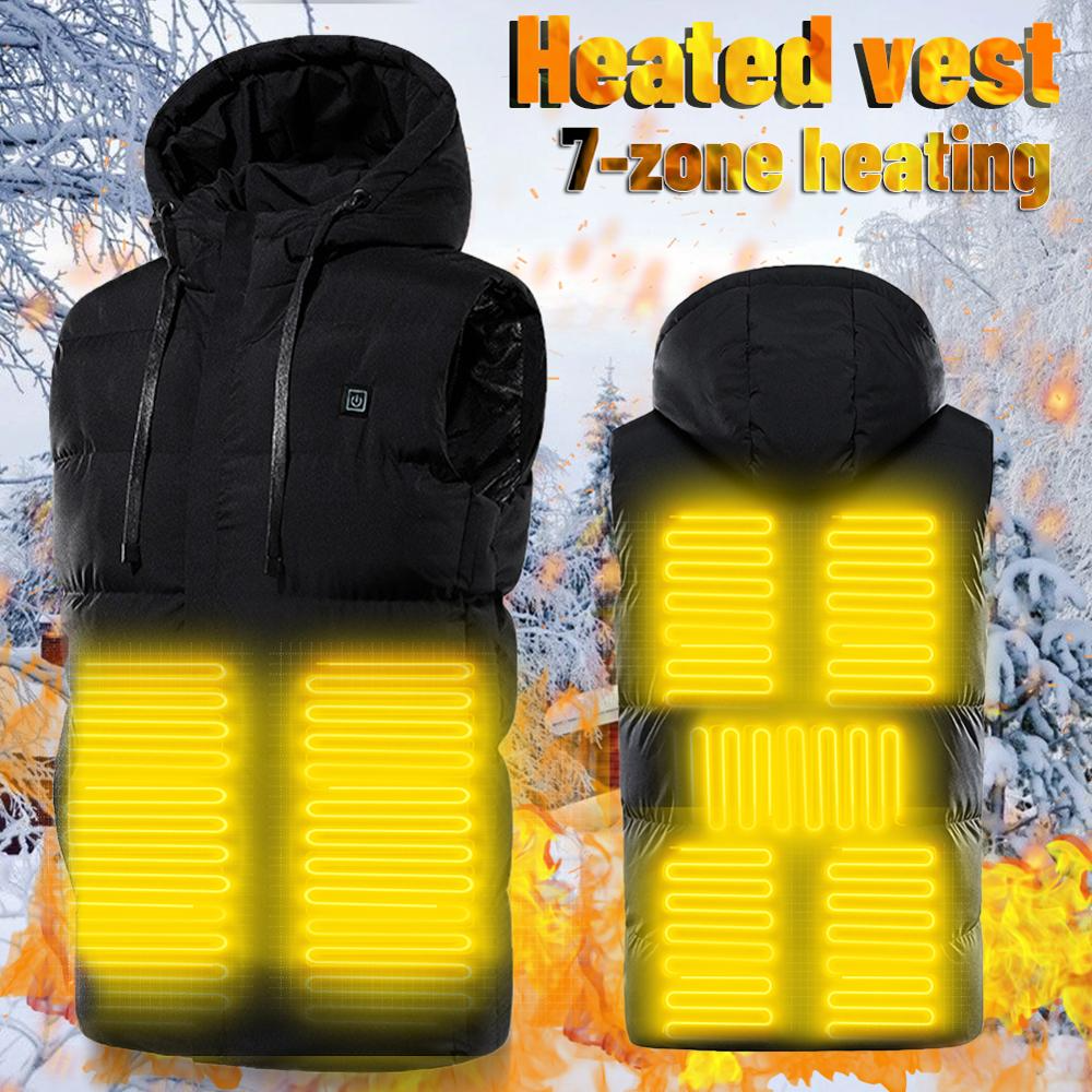 Heating Vest Hooded 7 Area USB Charging Winter Jacket Electric Flexible Thermal Smart Heated Vest For Men Sleeveless Outdoor