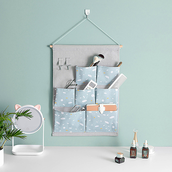 Creative Wall Hanging Organizer Multifunction Glasses Cosmetic Sundries Storage 7 Pockets Door Hanging For Wall Decor fulllove 12 pockets 32 72cm linen storage bag number print navy hanging organizer for cosmetic books home storage