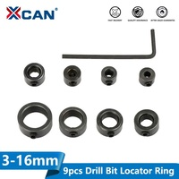 XCAN 9pcs Drill Bit Locator Ring Set 3-16mm Woodworking Drill Cutter Depth Stop Collars Ring Positioner Drillling Tools