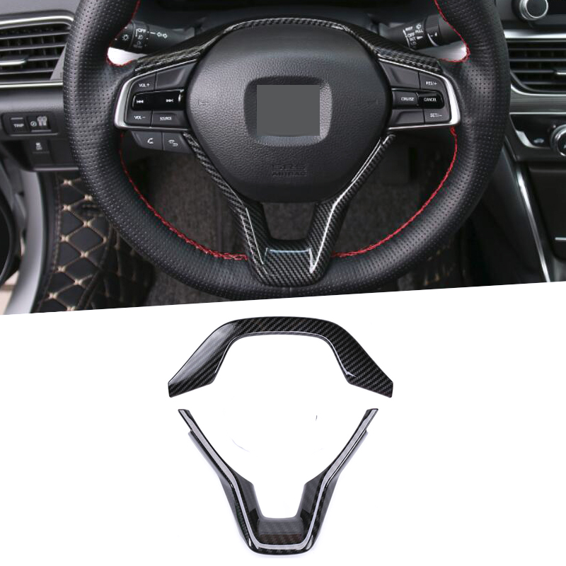 ABS Chrome Car styling Steering Wheel Frame Trim Sequins Sticker interior moulding Covers For <font><b>Honda</b></font> <font><b>Accord</b></font> 10th <font><b>2018</b></font> <font><b>Accessories</b></font> image