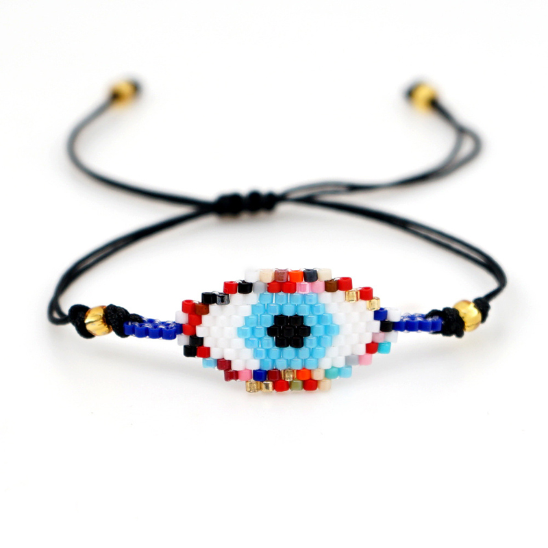 New Boho Evil Eye Bracelet For Women Handmade Braided Seed Beed Charm Bracelet Femme Fatima Hand Jewelry