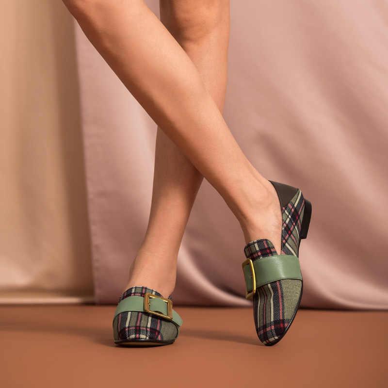 BeauToday loafer'lar kadın dana derisi hakiki deri ekose kumaş Metal toka yuvarlak Toe Slip-On kadın düz ayakkabı el yapımı 27363