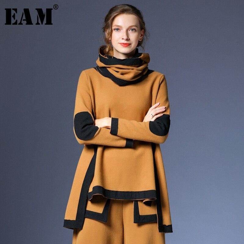 [EAM] Loose Fit Asymmetrical Big Size Sweatshirt New High Collar Long Sleeve Women Big Size Fashion Autumn Winter 2019 1H443