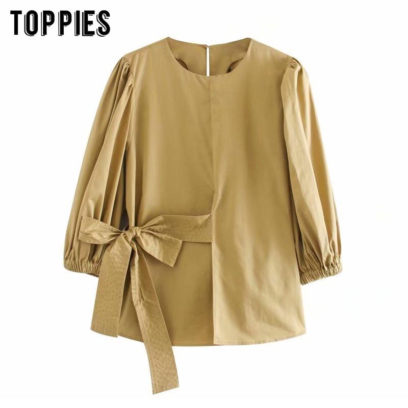 Женские бежевые блузки с бантом, простые рубашки с рукавом три четверти и круглым вырезом, лето 2020