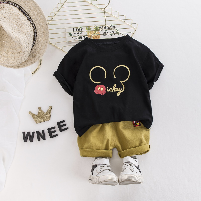 Toddler Baby Boys Clothing Sets Summer Fashion Boys Mickey Cartoon T-shirt And Jeans Sport Suit Children Cotton Clothes Set 1