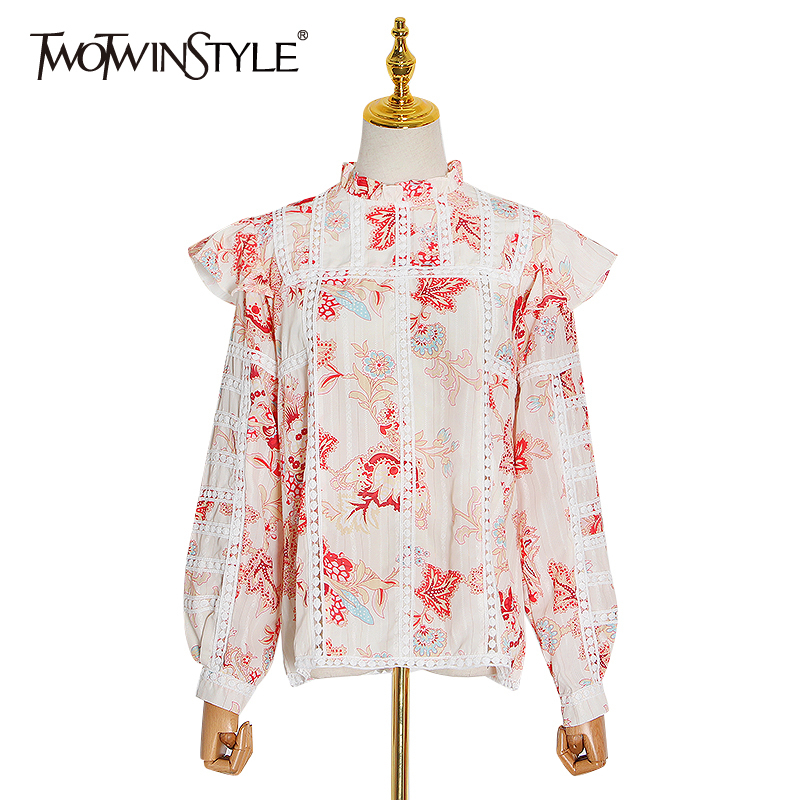 TWOTWINSTYLE Vintage Print Ruffle Shirts For Women Stand Collar Long Sleeve Patchwork Lace Shirt Female 2020 Spring Fashion Tide