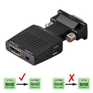 Image 1 - Convertidor VGA macho a HDMI hembra con Cables de Audio adaptadores Monitor HDTV 1080P para proyector PC PS3