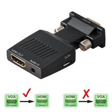 Convertisseur VGA mâle vers HDMI femelle avec câbles adaptateur Audio 1080P pour moniteur HDTV projecteur PC PS3