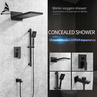 Dusche Armaturen Matte Schwarz Wand Halterung Bad Wasserhahn Set Regen Platz Große Dusche Kopf Handheld Ventil Bad Mischbatterie YB-623R