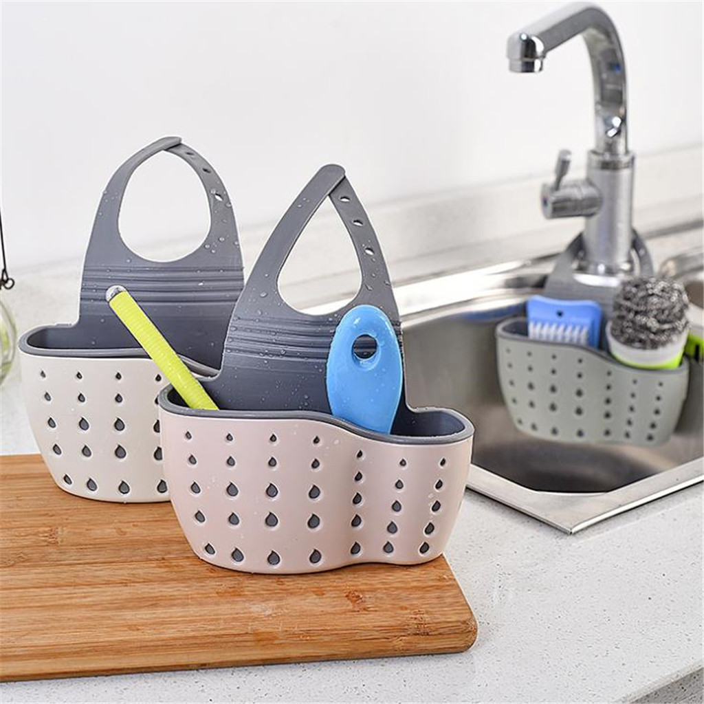 Kitchen Sink Sponge Holder Draining Rack Sink Kitchen Hanging Drain Storage Tools Storage Shelf Sink Holder Drain Basket 2pcs