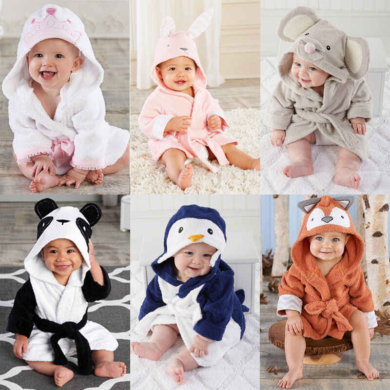 Baby Boys Girls Robe Towel Coral Fleece Blanket Hooded Wrap Children's Bathrobe Soft Velvet Robe Pajamas Animal Infant Bathing