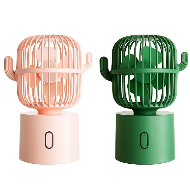 USB Rechargeable Cactus Mini Fan 3 Gears Adjustable Mute Desktop Air Cooler