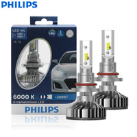 Philips X treme Ultinon LED 9005 9006 HB3 HB4 12V 11005XUX2 6000K Car LED Head Lamps Auto Bulbs +200% More Bright (Twin Pack)