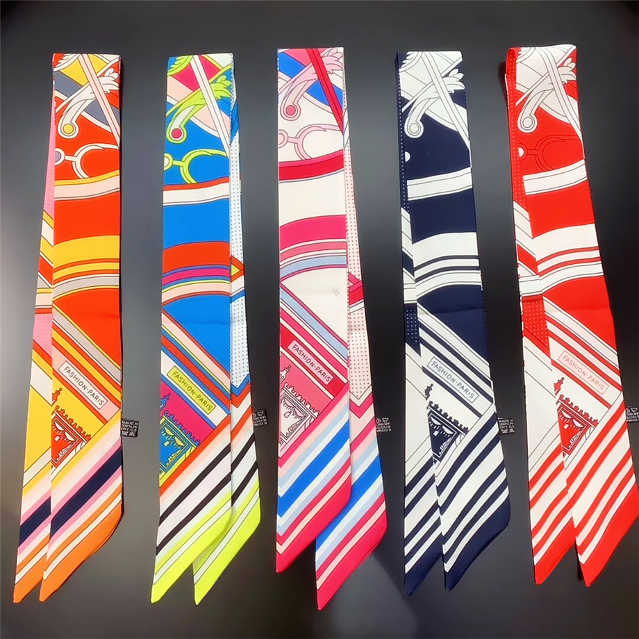 2020 New Design Stripe Luxury Brand Letter Skinny Scarf For Women Hair Neck Silk Scarf For Ladies Foulard Headband Bag Scarves