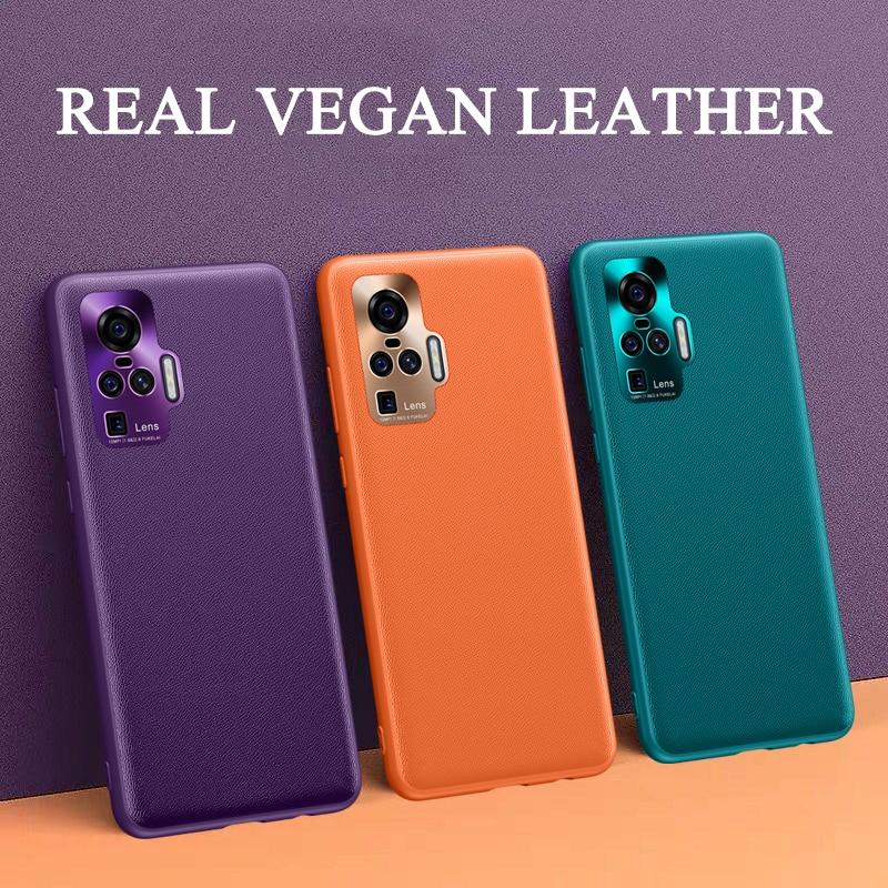 PU Leather Case for VIVO X50 Pro Plus Soft Vegan Leather Hard Cover Phone Case for VIVO X50 X 50 Pro + Metal Len Protection Case