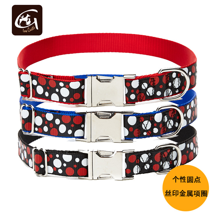 Guangzhou Pet Supplies Factory Cool Dotted Environmentally Friendly Nylon Screen Printing Metal Buckle Neck Ring Nursing Tractio