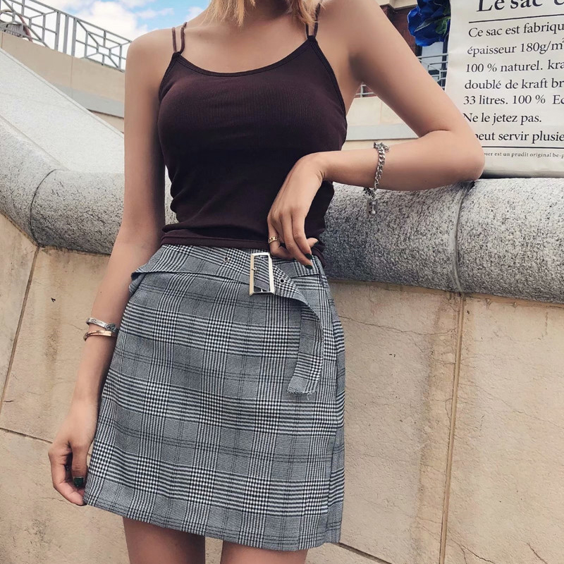 GOPLUS Women's Skirt Plaid A-Line Mini Skirts Streetwear Koran High Waist Skirt  Faldas Mujer Moda 2020 Spring Jupe Femme C9735