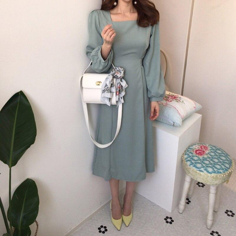 Chic Korean Women Casual Sashes a Line Party Dress Ladies Elegant Dress New Fashion Women Midi Dress
