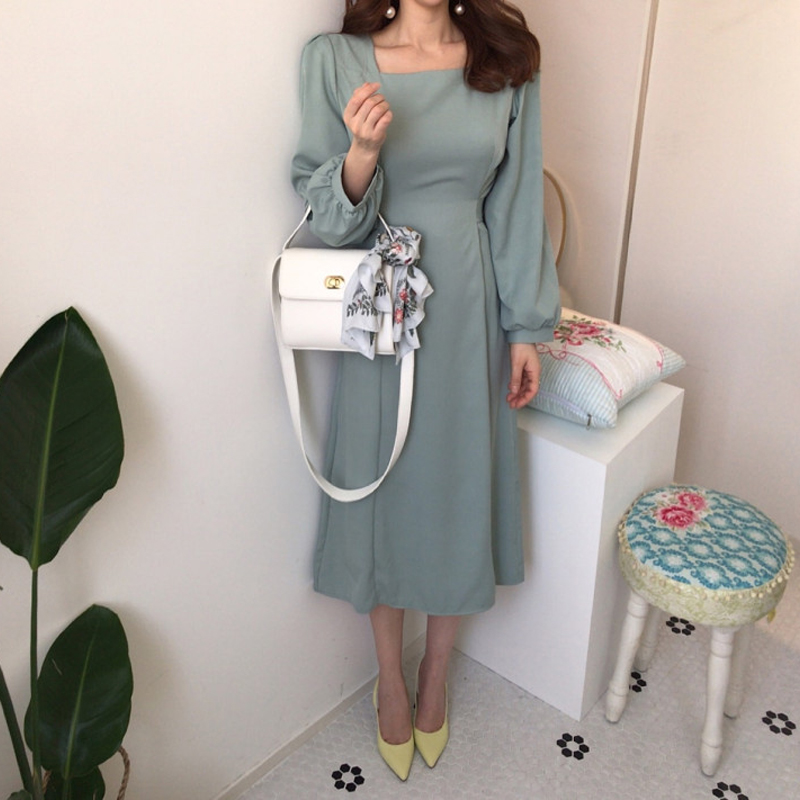 Chic Korean Women Casual Sashes A Line Party Dress Ladies Elegant Dress New Fashion Women Midi Dress