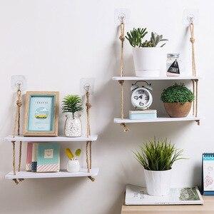 Image 1 - Regał do przechowywania z półkami dekoracyjne półki ścienne haczyki na drewno ścienne półka ścienna kuchnia przechowywanie organizacja półka do przechowywania w szafce