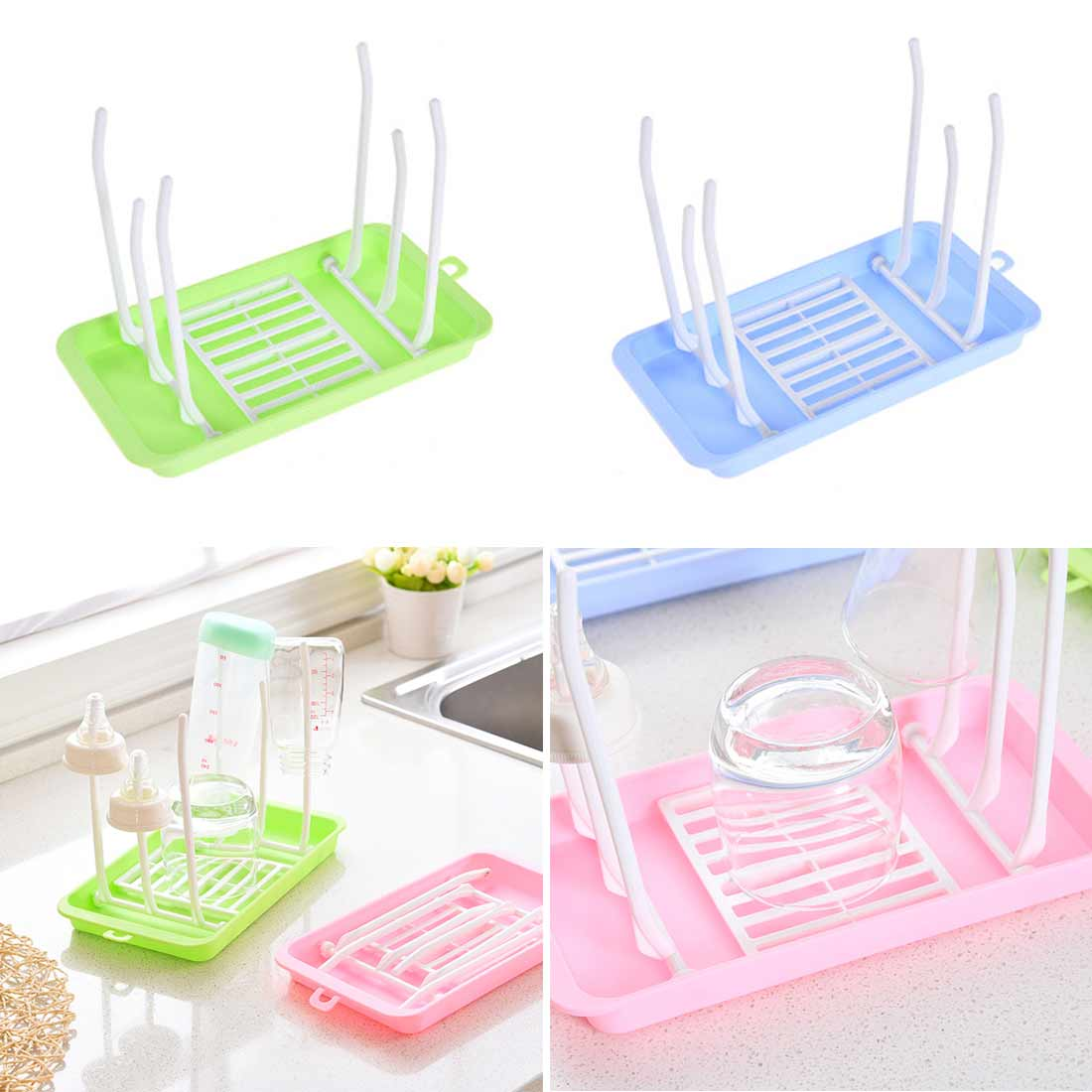 Bottle Dry Rack Baby Bottle Drain Drying Racks Blue Pink Baby Bottle Cleaning Dryer Drainer Storage Drying Rack