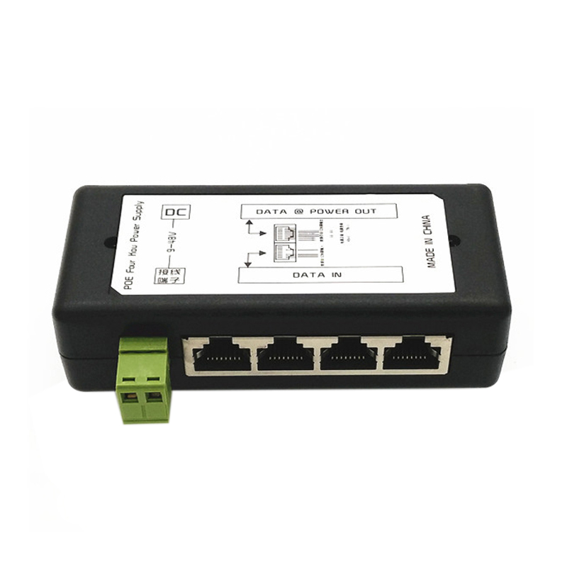 4 Port Poe Injector Poe Power Adapter Ethernet Power Supply Pin 4,5(+)/7,8(-)Input Dc12V-Dc48V For Ip Camera
