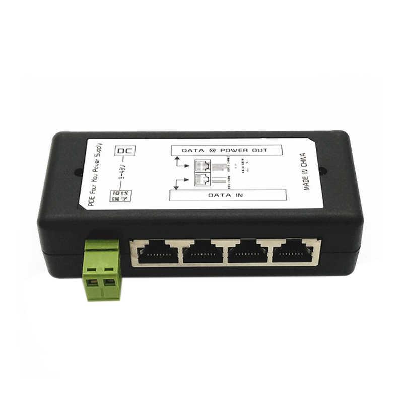 4 ports Poe injecteur Poe alimentation adaptateur Ethernet alimentation broche 4,5 (+)/7,8 (-) entrée Dc12V-Dc48V pour caméra Ip