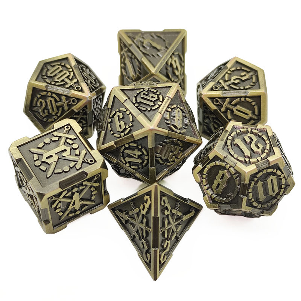 2020 new zinc alloy 7 pieces/set DND metal dice sword style design RPG MTG dungeon table game entertainment dice set