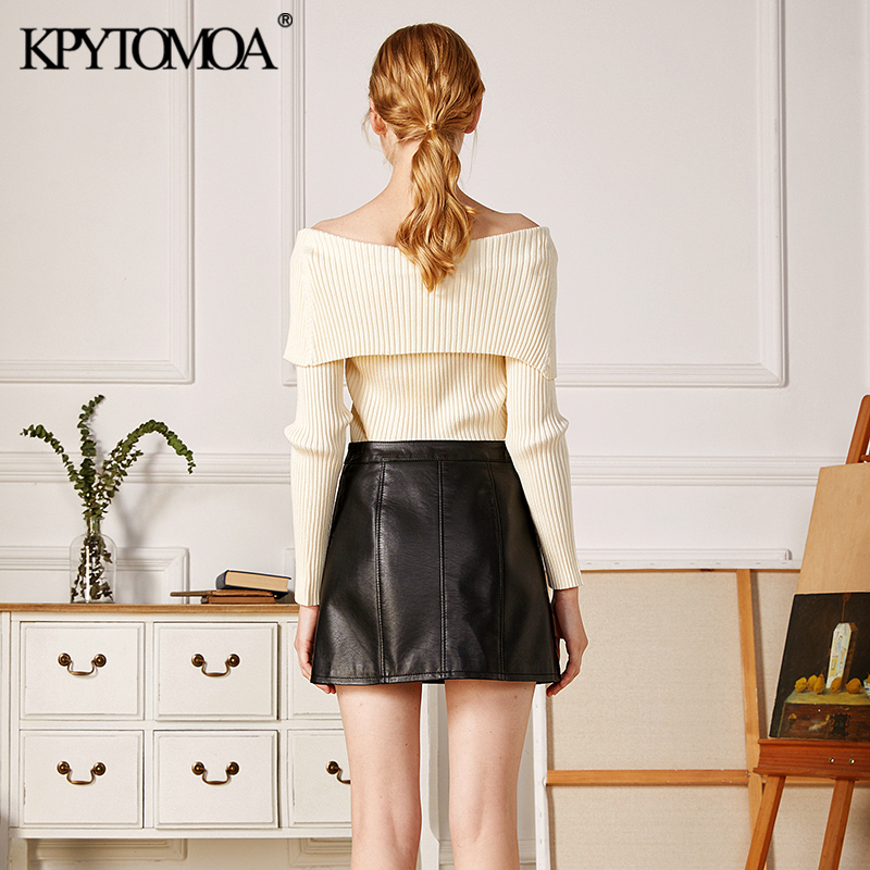 KPYTOMOA Women 2021 Fashion With Exposed Shoulders Fitted Knitted Sweater Vintage V Neck Long Sleeve Female Pullovers Chic Tops