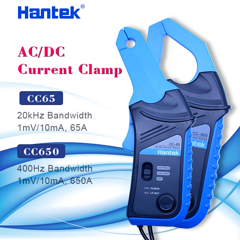 Hantek Oscilloscope AC/DC Current Clamp Probe CC-65 CC-650 20KHz/400Hz Bandwidth 1mV/10mA 65A/650A With BNC Plug
