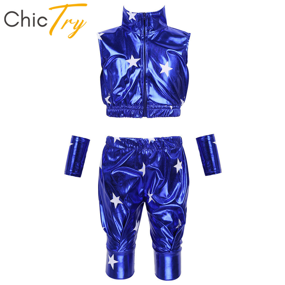 ChicTry Kids Metallic Zipper Crop Top With Pants Wrist Sleeve Set Boys Girls Stage Performance Modern Hip-hop Jazz Dance Costume