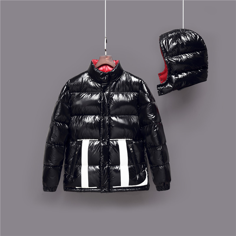 Korean-style Gloss Handbag Down Jacket Men And Women Short Couple Clothes Youth Thick Warm White Duck Down Coat Detachable Hat