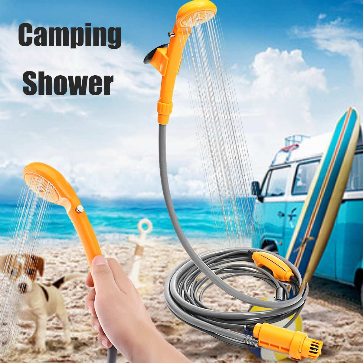 12V Portable Outdoor Camping Travel Car Pet Dog Shower DC12V Car Washer Electric Shower Washer Pump Pipe Set