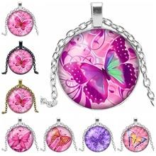 HOT! 2019 New Pink Butterfly Glass Convex Pendant Necklace Cartoon When Assembling