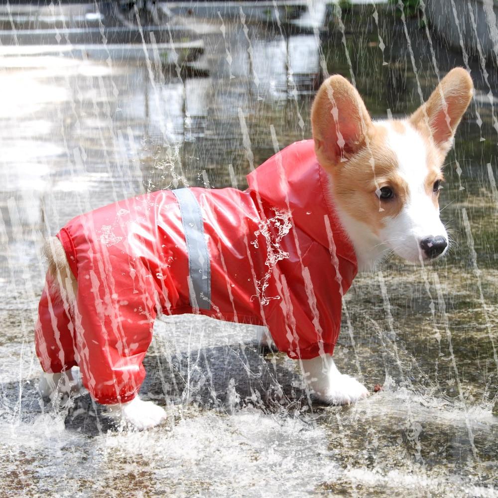 Водонепроницаемый плащ-дождевик для собак, комбинезон, плащ-дождевик со светоотражающими полосками, дышащая сетчатая верхняя одежда для собак, куртка для маленьких товары для домашних собак